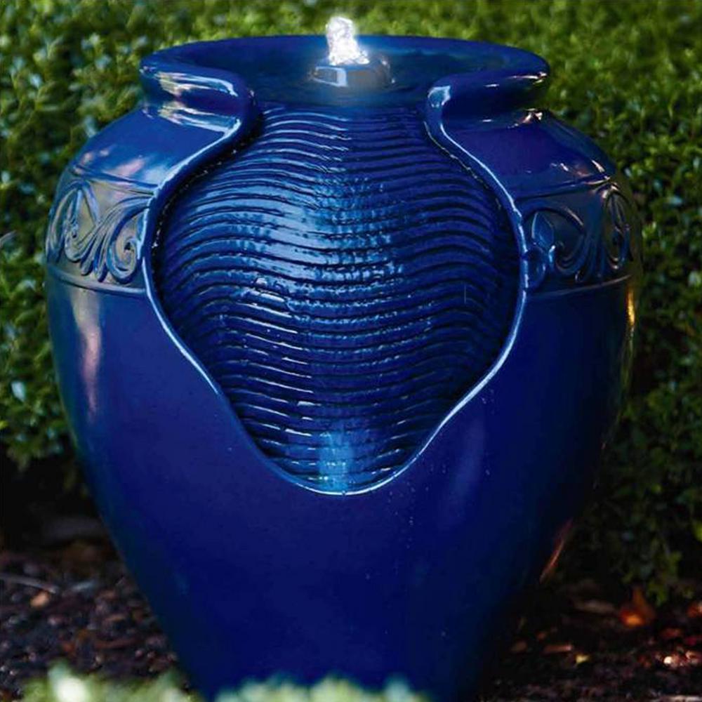 Outdoor Glazed Urn Pot Floor Fountain in Royal Blue