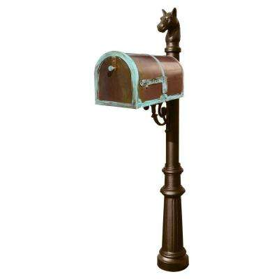 Antique Brass Patina Post Mount Non-Locking Mailbox with Decorative Lewiston Post System