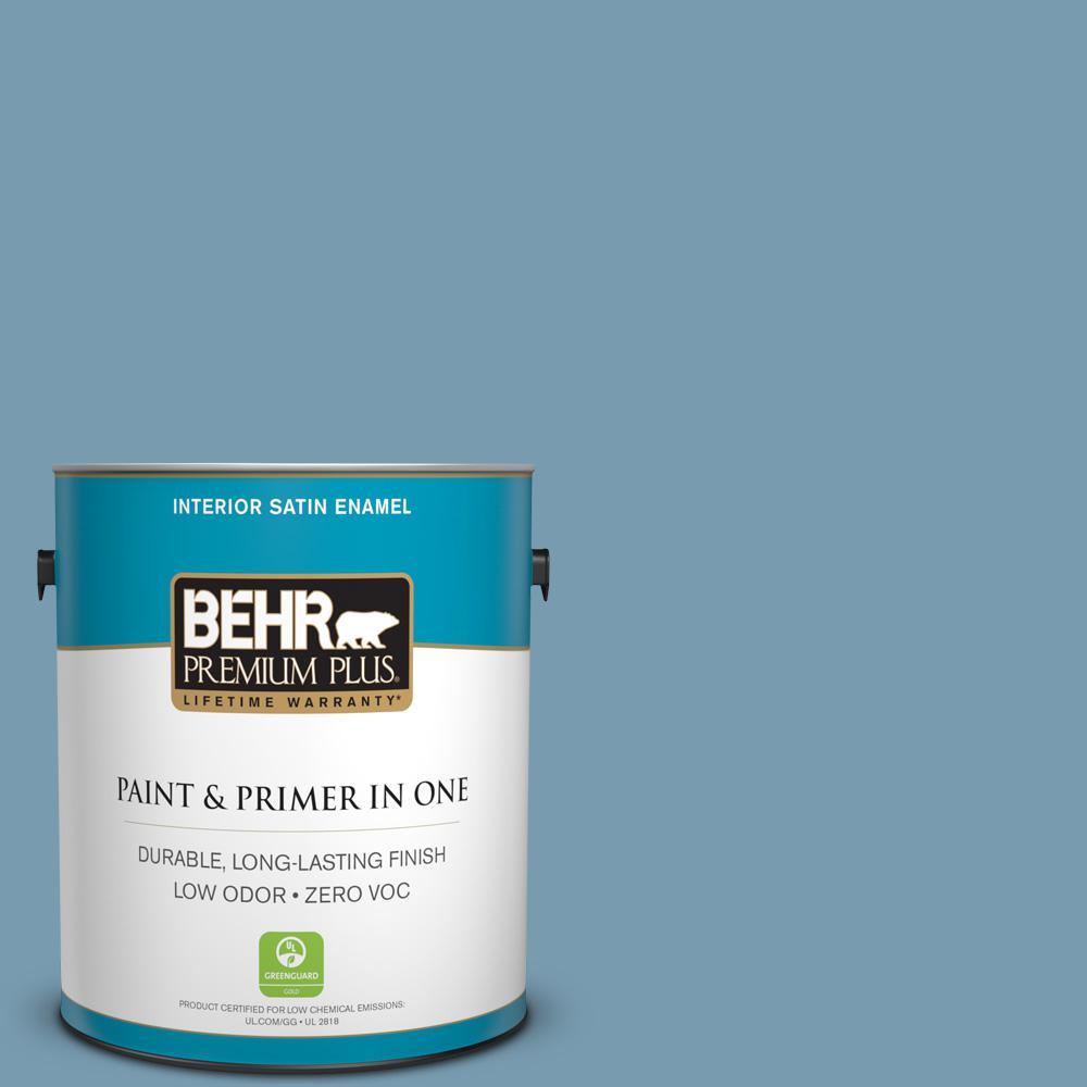 BEHR Premium Plus 1-gal. #PMD-14 Yacht Harbor Zero VOC Satin Enamel Interior Paint