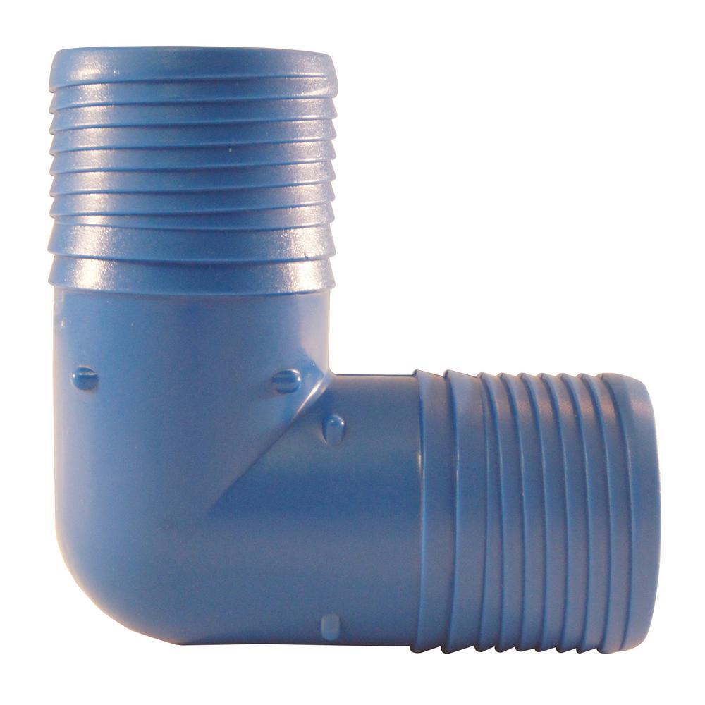 1-1/2 in. Blue Twister Polypropylene Insert 90-Degree Elbow