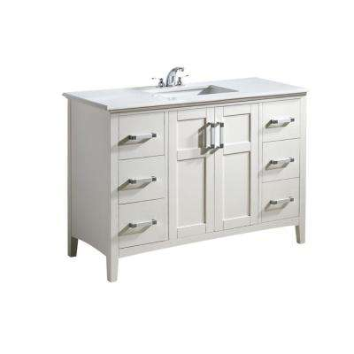 Wilshire 48 in. Bath Vanity in Pure White with Engineered Quartz Marble Vanity Top in Bombay White with White Basin