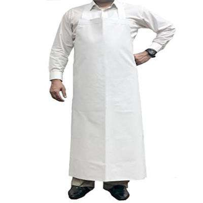 Waterproof and Oilproof Vinyl Bib Apron with Adjustable Neck, Large, White