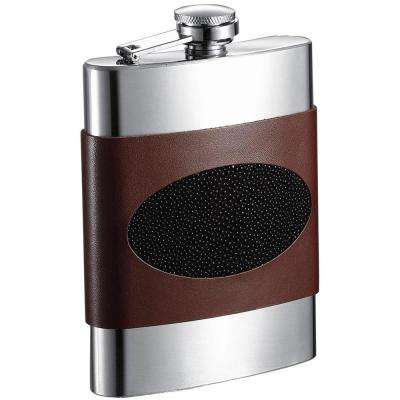 Wayne Handcrafted Brown Leather and Stainless Steel Liquor Flask