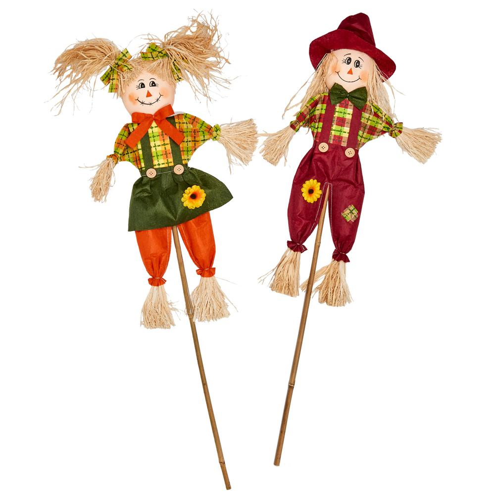 36 in scarecrow on stick set of 2 2254 the home depot