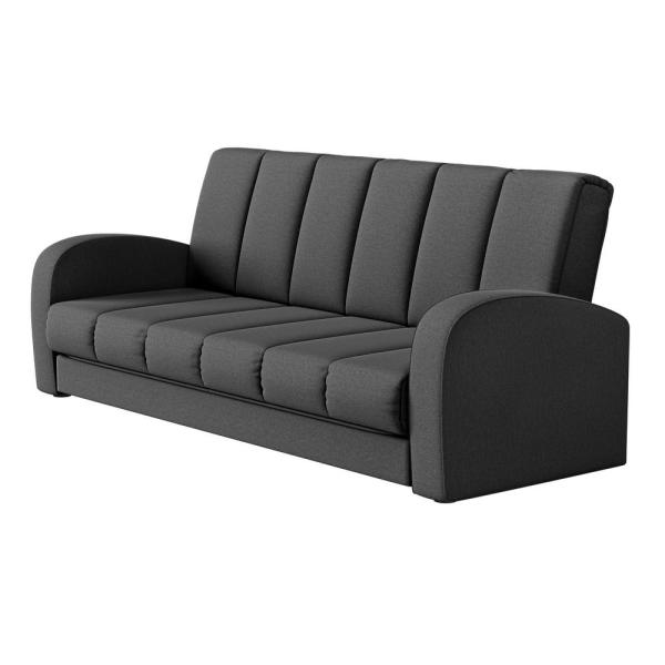 Parlette 83.5 in. Charcoal Gray Plush Low-Pile Velour Wide 3-Seat Convert-a-Couch Full Size Sofa Bed