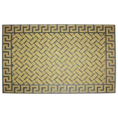 Greek Key 18 in. x 30 in. Crumb Rubber Printed Flocked Door Mat