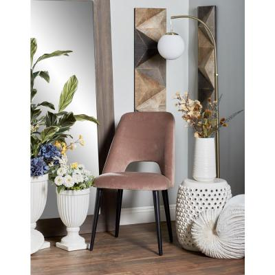 Light Brown Wood and Fabric Cushioned Dining Chair