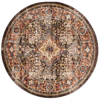 Bijar Brown/Rust 6 ft. 7 in. x 6 ft. 7 in. Round Area Rug