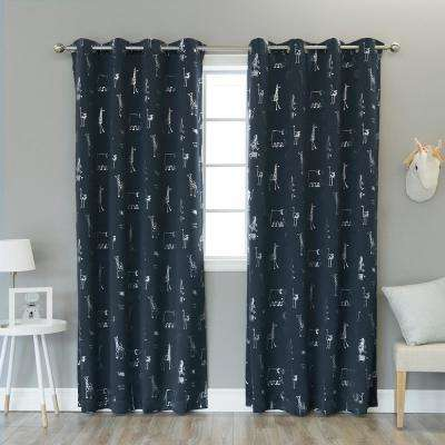 84 in. L Navy Animal Foil Blackout Curtain (2-Pack)