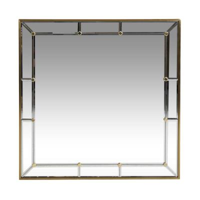 Natchez 31.50 in. x 31.50 in. Modern Square Framed Brushed Brass Accent Mirror