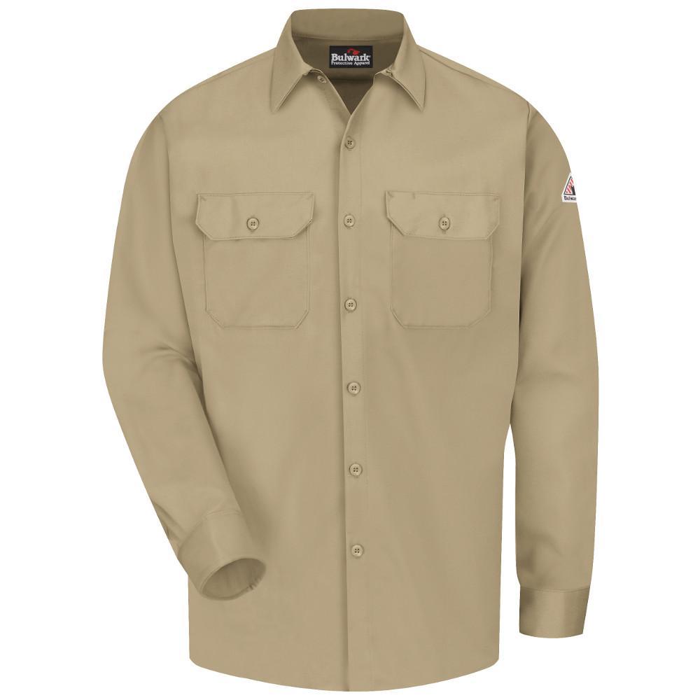 85b8779940c Bulwark EXCEL FR ComforTouch Men s Medium (Tall) Khaki Work Shirt ...