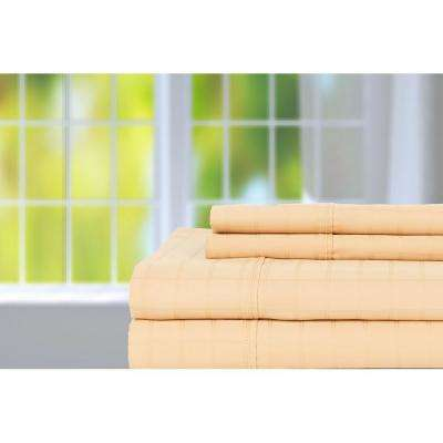 Gold 350-Thread Count 1 in. Square Window Pane King Sheet Set