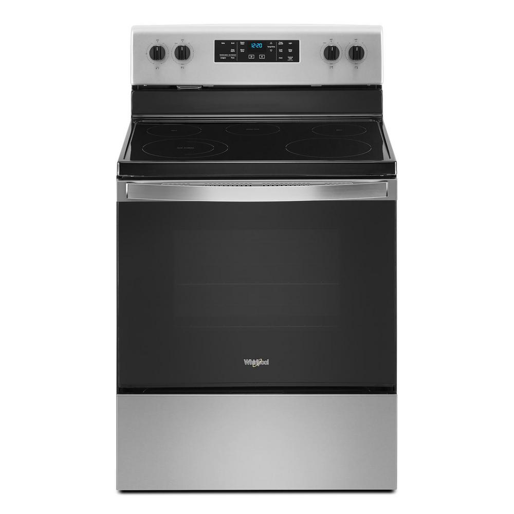 Whirlpool Whirlpool 30 in. 5.3 cu. ft. Electric Range with 5-Elements and Frozen Bake Technology in Stainless Steel, Silver
