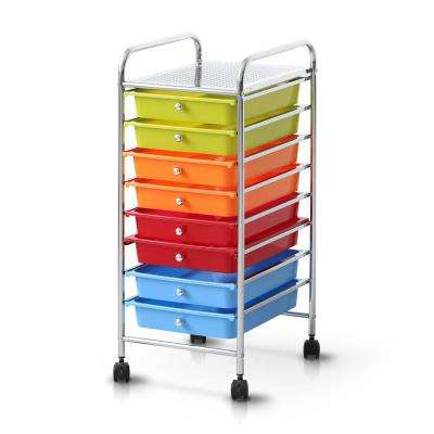Wayar 8-Shelf Chrome 4-Wheeled 8-Drawer Trolley in Rainbow