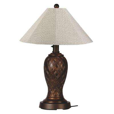 Monterey 34 in. Bronze Outdoor Table Lamp with Silver Linen Shade