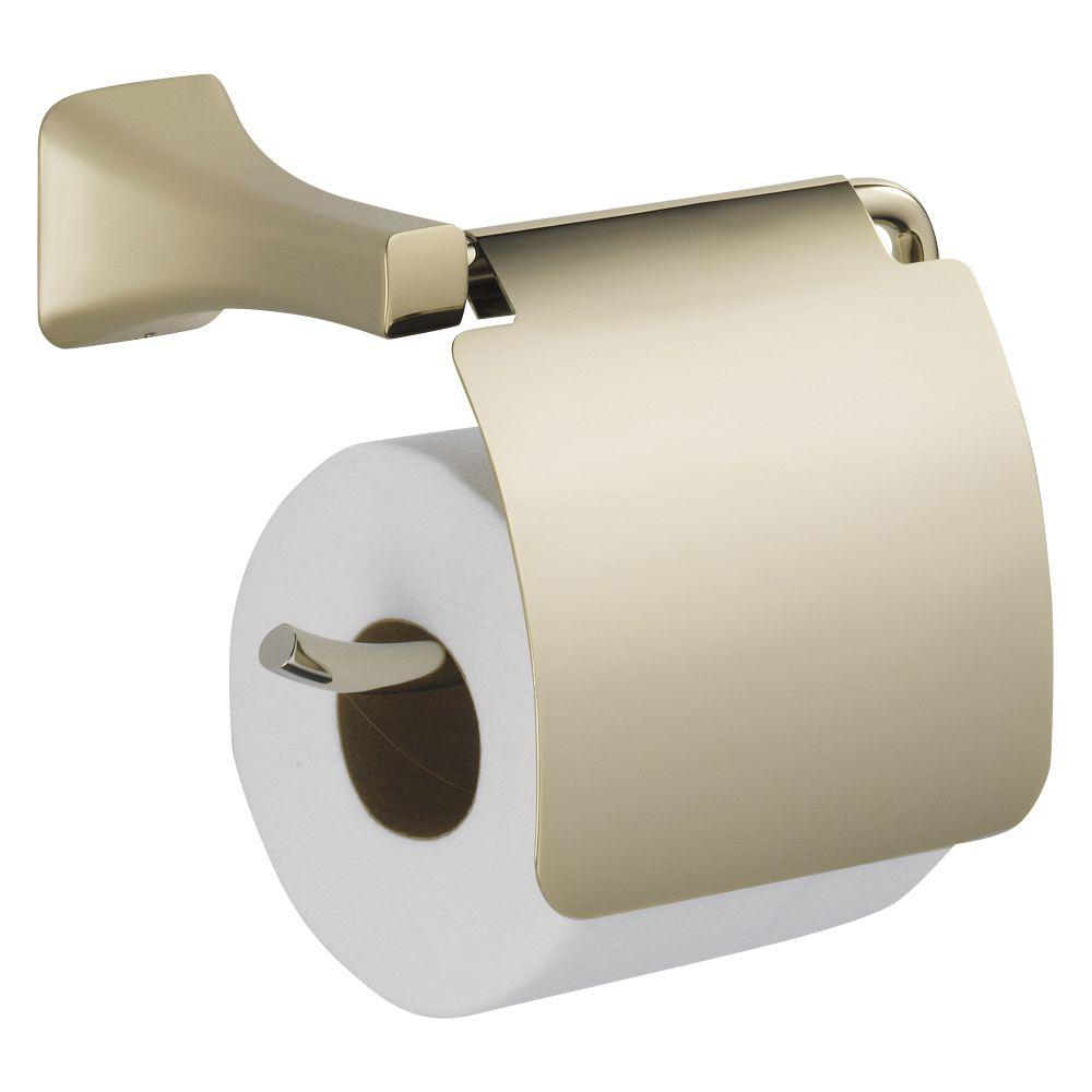 Tesla Single Post Toilet Paper Holder with Removable Cover in Polished