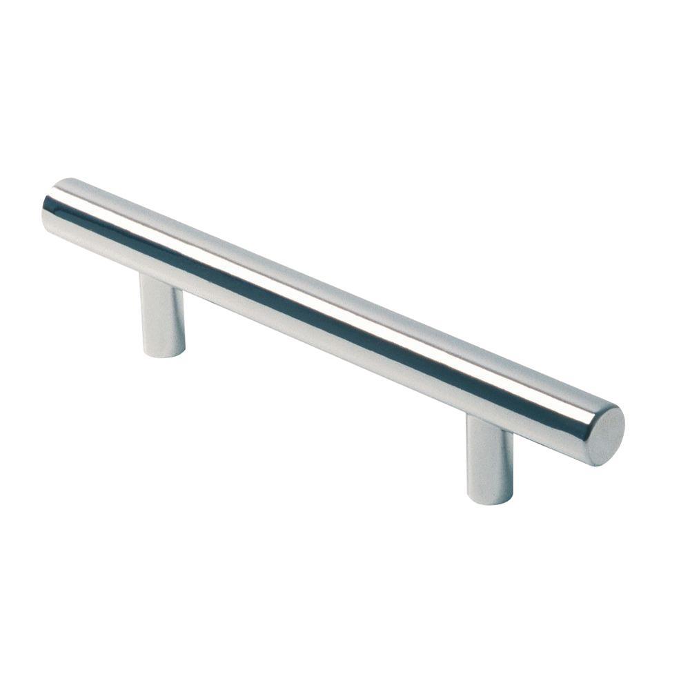 Siro Designs Euro Metallic Bright Chrome 96mm Rail Pull