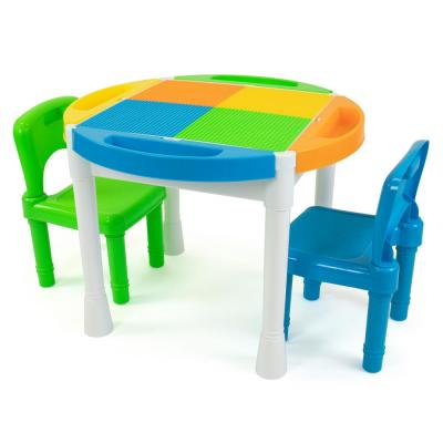 Kids Multi Colored 2-in-1 Plastic Building Blocks Compatible Activity Table W/ 100-Piece Starter Blocks and 2-Chair Set