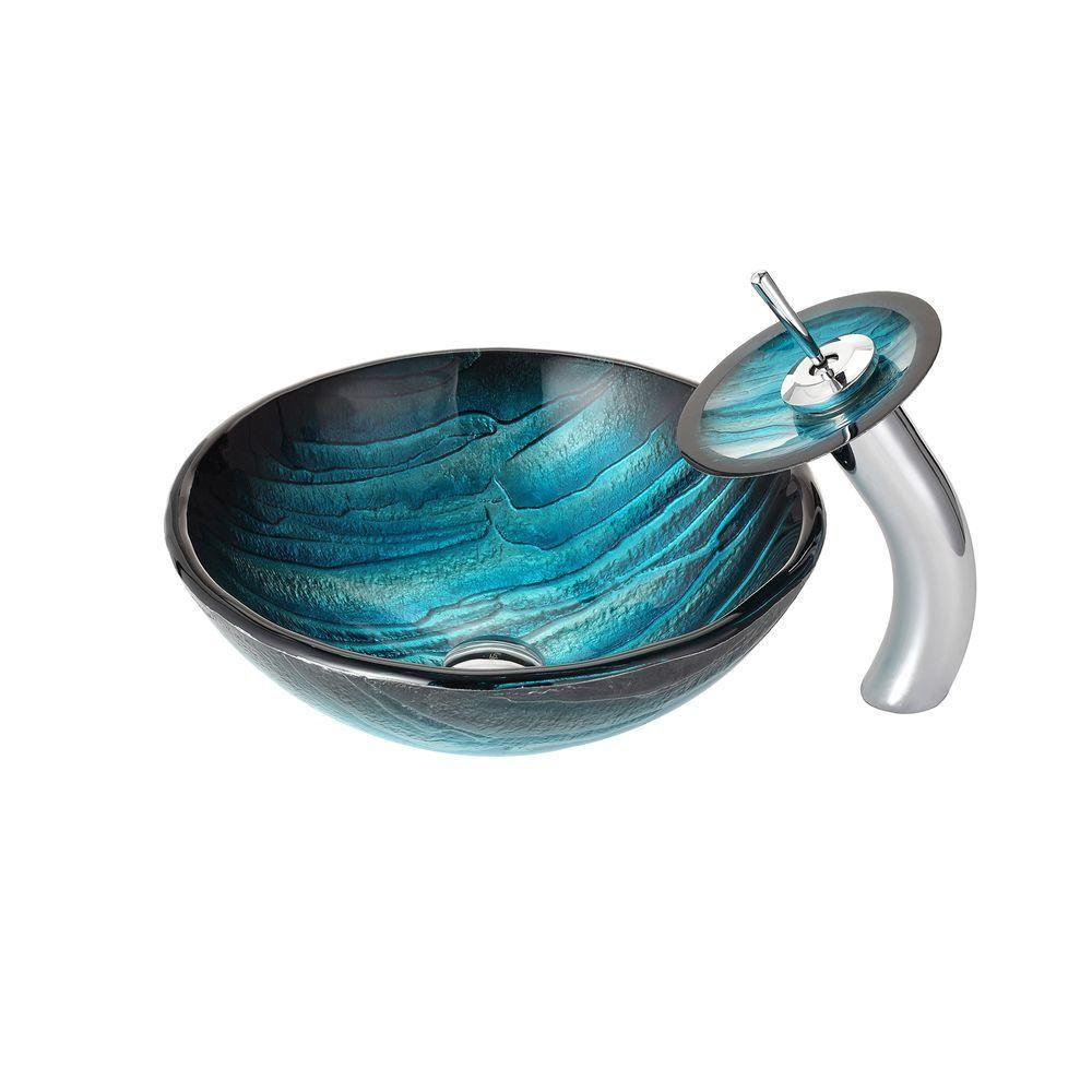 KRAUS Ladon Glass Vessel Sink In Blue With Waterfall Faucet In Chrome