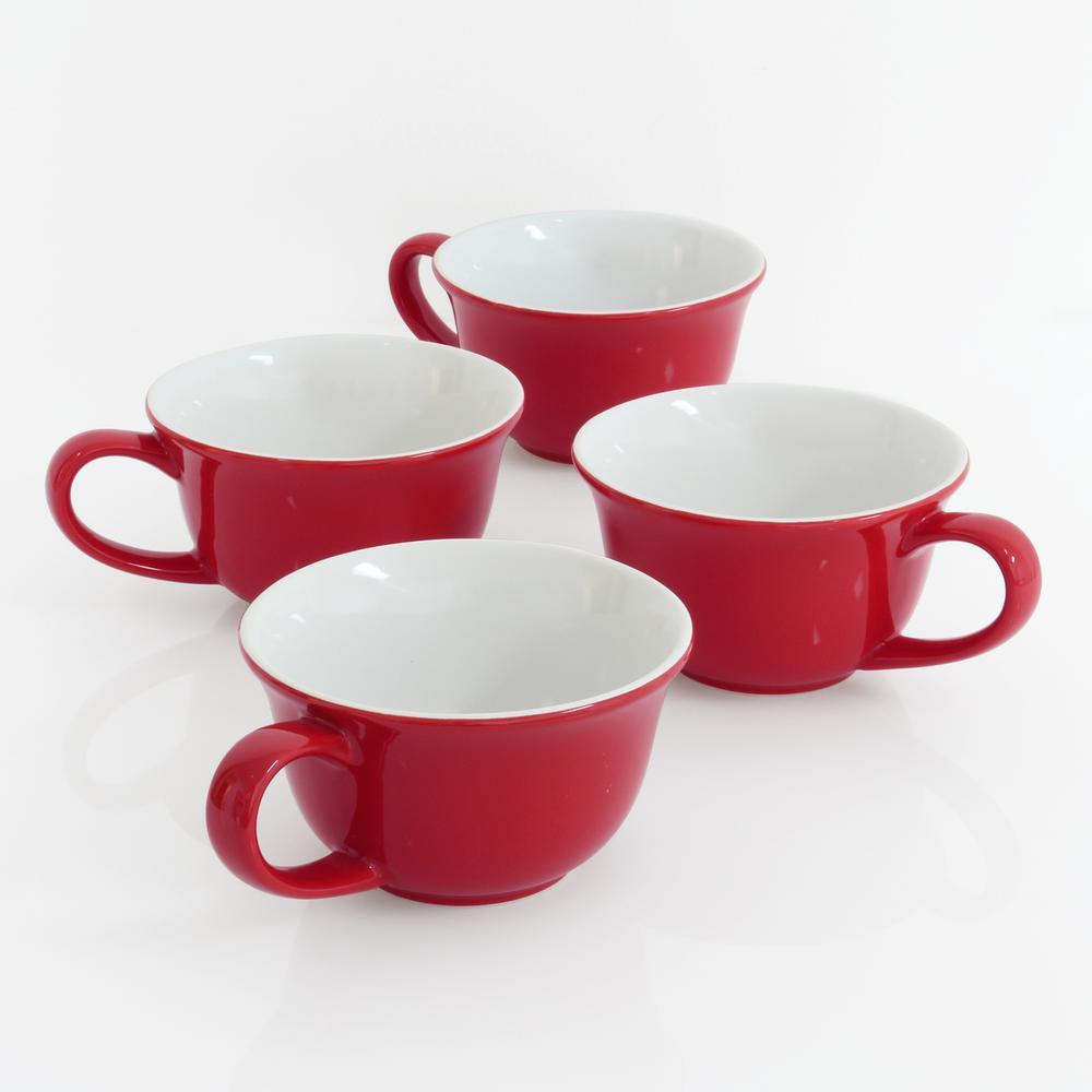 Tea Lover's 8 oz. Red Exterior with White Interior Ceramic Mug (Set of 4)