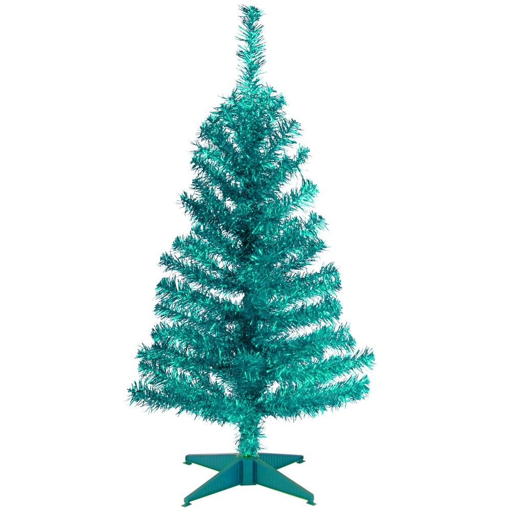 national tree company 3 ftturquoise tinsel artificial christmas tree