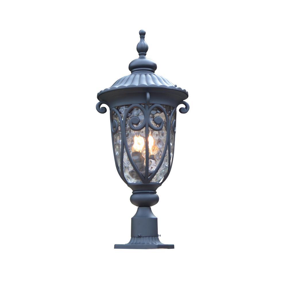 Hailee 3-Light Outdoor Black Post Light