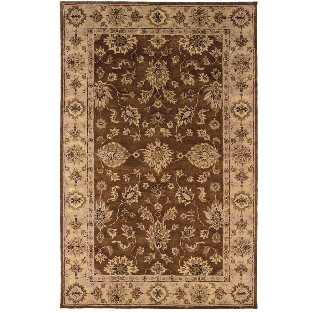 Linon Home Decor Rosedown Collection Brown and Gold 4 ft. x 6 ft. Indoor Area Rug