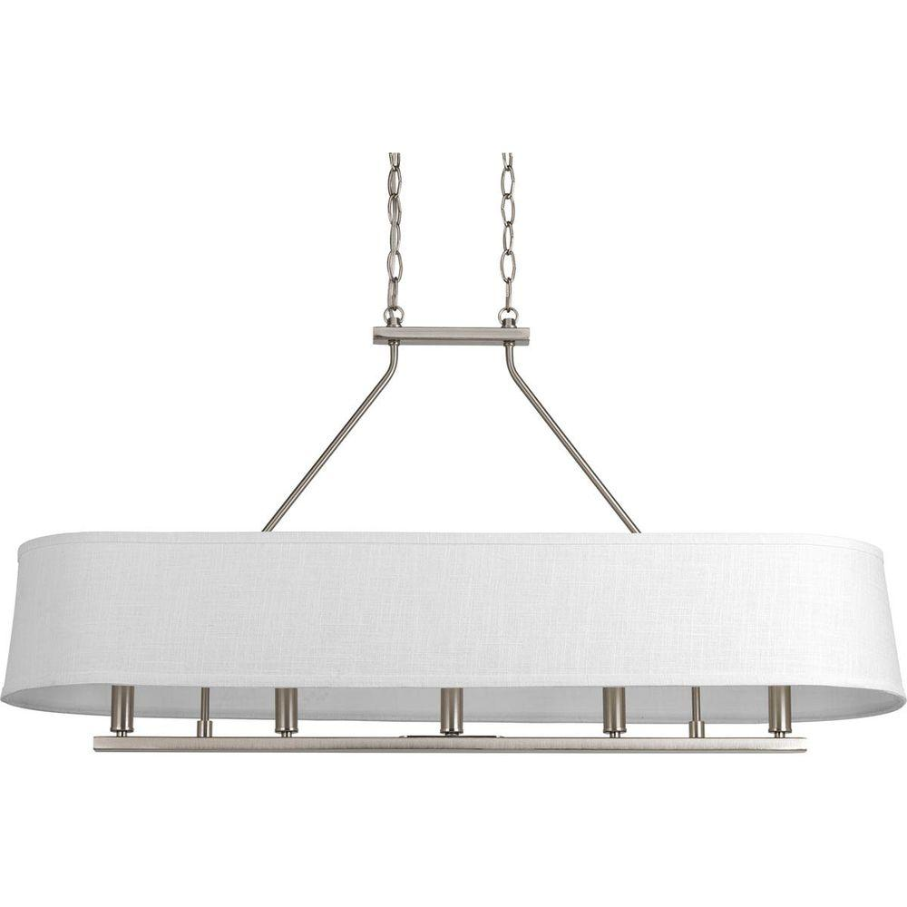 Progress Lighting Cherish Collection 5-Light Brushed Nickel Linear Chandelier with Summer Linen Shade-P4617-09 - The Home Depot  sc 1 st  The Home Depot & Progress Lighting Cherish Collection 5-Light Brushed Nickel Linear ... azcodes.com