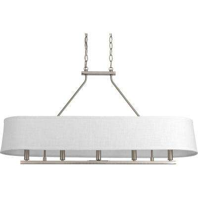 Cherish Collection 5-Light Brushed Nickel Linear Chandelier with Summer Linen Shade