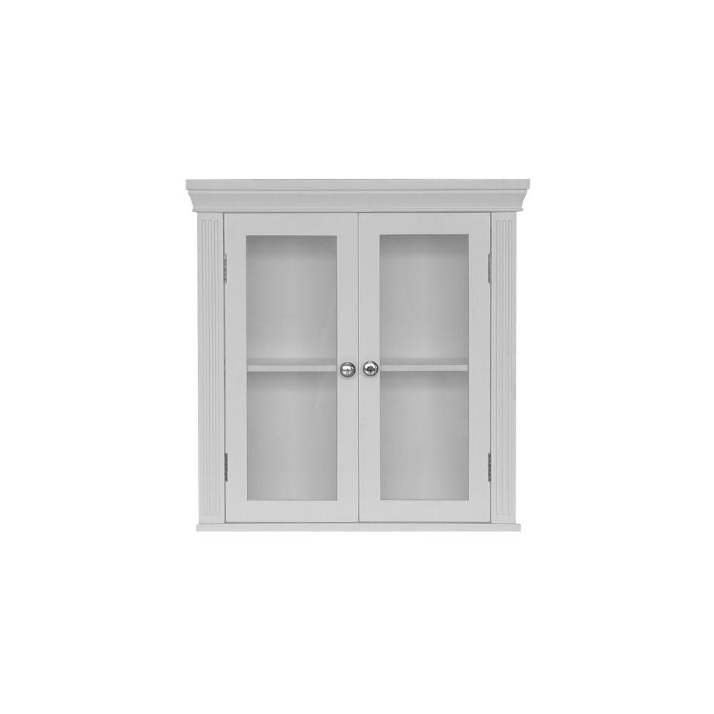 Elegant Home Fashions Plateau 20 in. W x 7 in. D x 20.5 in. H Wall Cabinet in White-DISCONTINUED