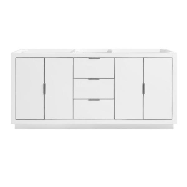 Austen 72 in. Bath Vanity Cabinet Only in White with Silver Trim