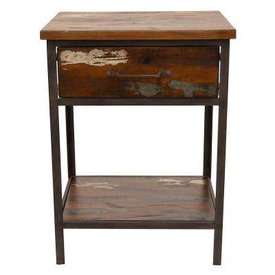 19.75 in. x 15.5 in. Brown Wood/Metal End Table