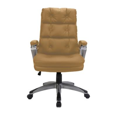 Brown High Back Adjustable Height Leather Ergonomic Executive Office Chair with Lumbar Support