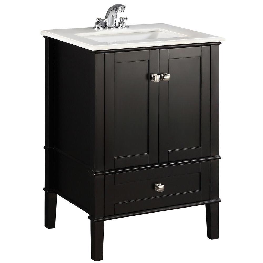 Chelsea 24 in. Bath Vanity in Black with Quartz Marble Vanity Top in White with White Basin