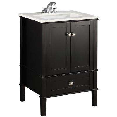 Chelsea 24 in. Vanity in Black with Quartz Marble Vanity Top in White and Under-Mounted Rectangular Sink