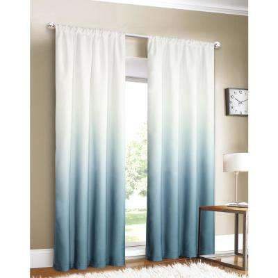 Shades 40 in. W x 84 in. L Ombre Design Window Panel Pair in Blue (2-Pack)