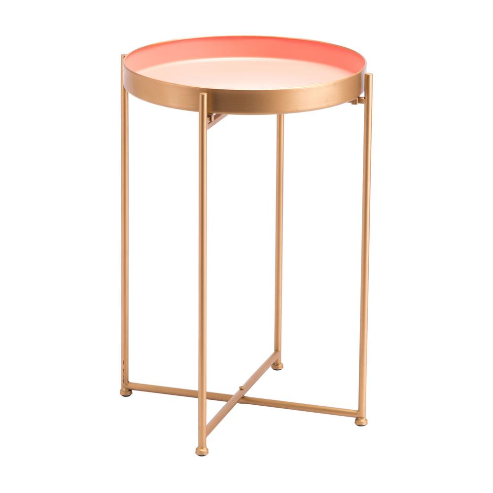 Zuo Red Pink Tall End Table