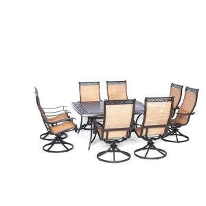 Cambridge Legacy 9-Piece Patio Outdoor Dining Set with Large Square Table and 8 Swivel Rockers by Cambridge