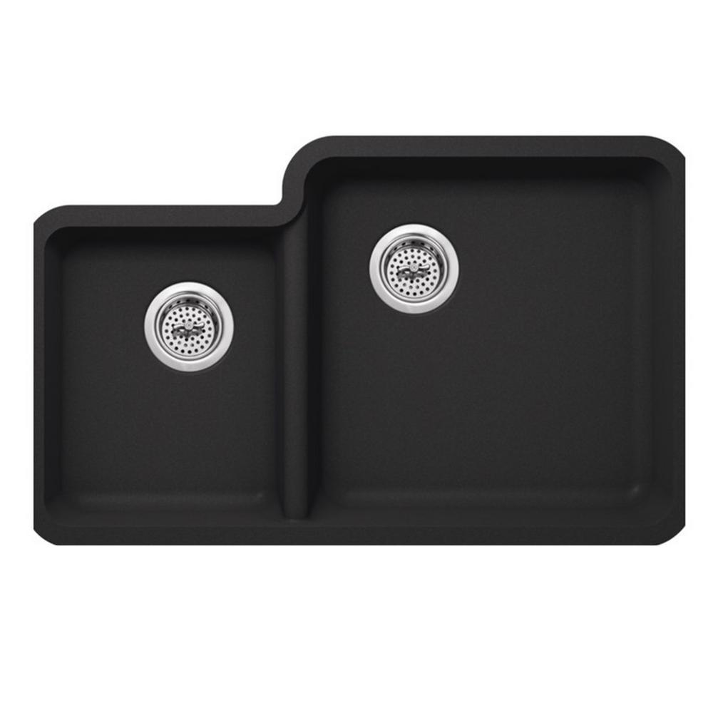 Undermount Quartz 33 in. 0-Hole 40/60 Double Bowl Kitchen Sink in Onyx Black