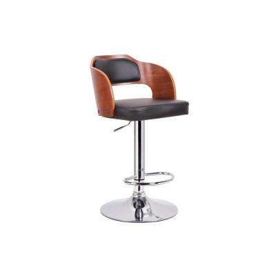 Sitka Brown Wood and Black Faux Leather Adjustable Bar Stool