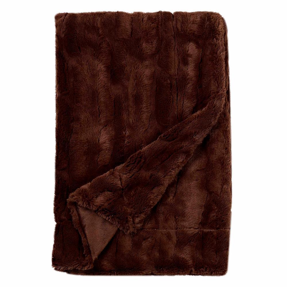 Cozy Brown Embossed Faux Fur Reverse to Micomink Throw Blanket