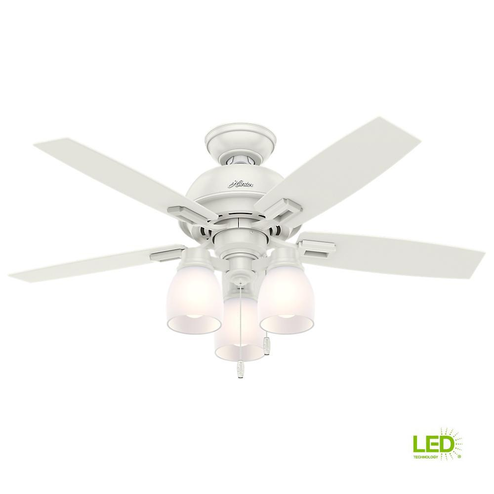 Hunter Ronan 52 In Led Indoor Fresh White Ceiling Fan With Remote Black And Wire 3 Light