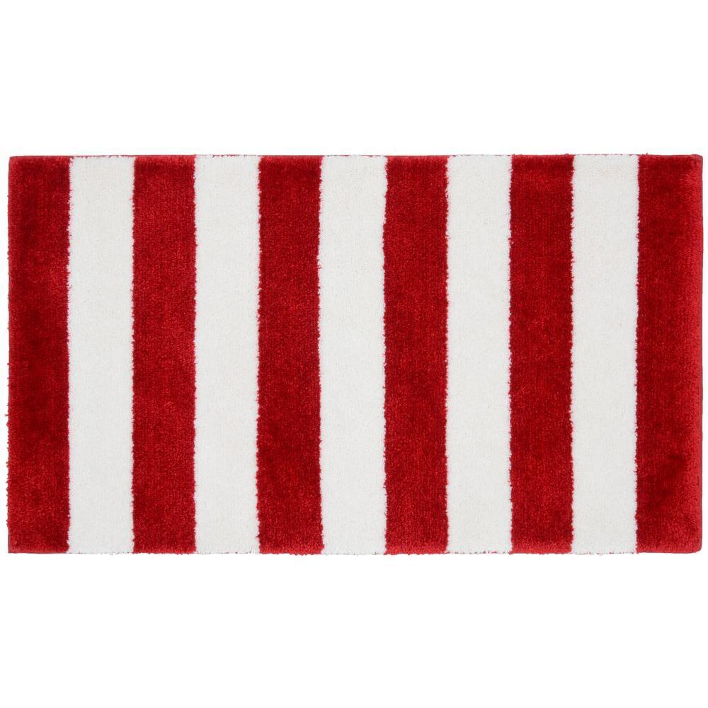 Beach Stripe Crimson Red/White 21 in. x 34 in. Bath Rug