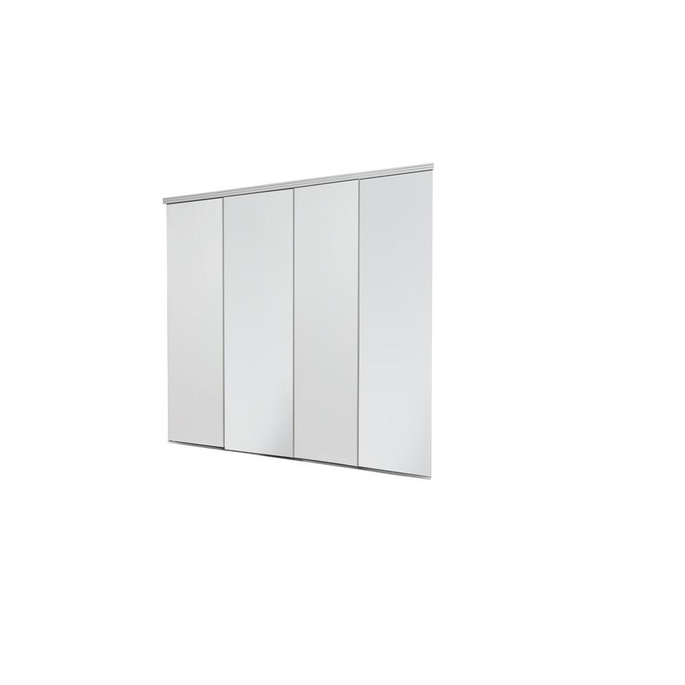 Impact Plus 120 in. x 84 in. Smooth Flush Primed Solid Core MDF Interior Closet Sliding Door with Chrome Trim