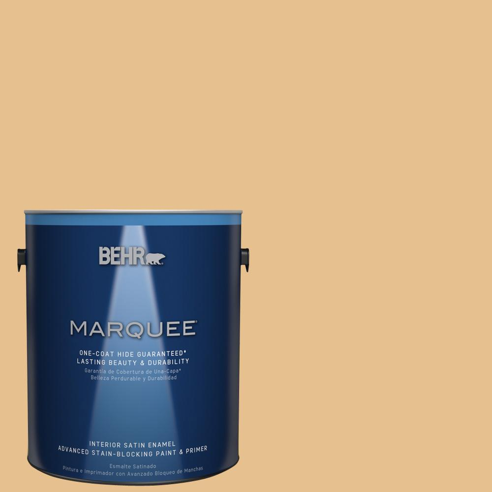 1 gal. #T17-02 Gold Hearted Satin Enamel Interior Paint