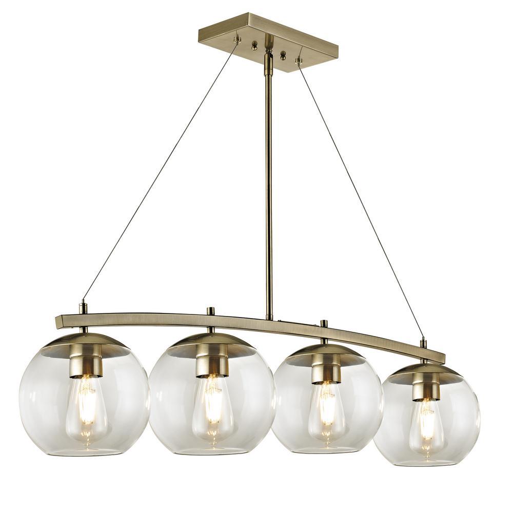 4-Light Antique Brass Glass Globe Pendant