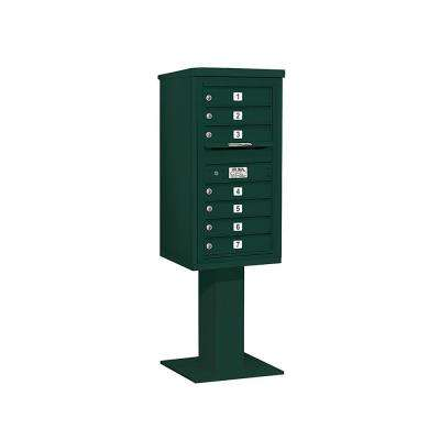 3400 Series 62-1/8 in. 9 Door High Unit Green 4C Pedestal Mailbox with 7 MB1 Doors