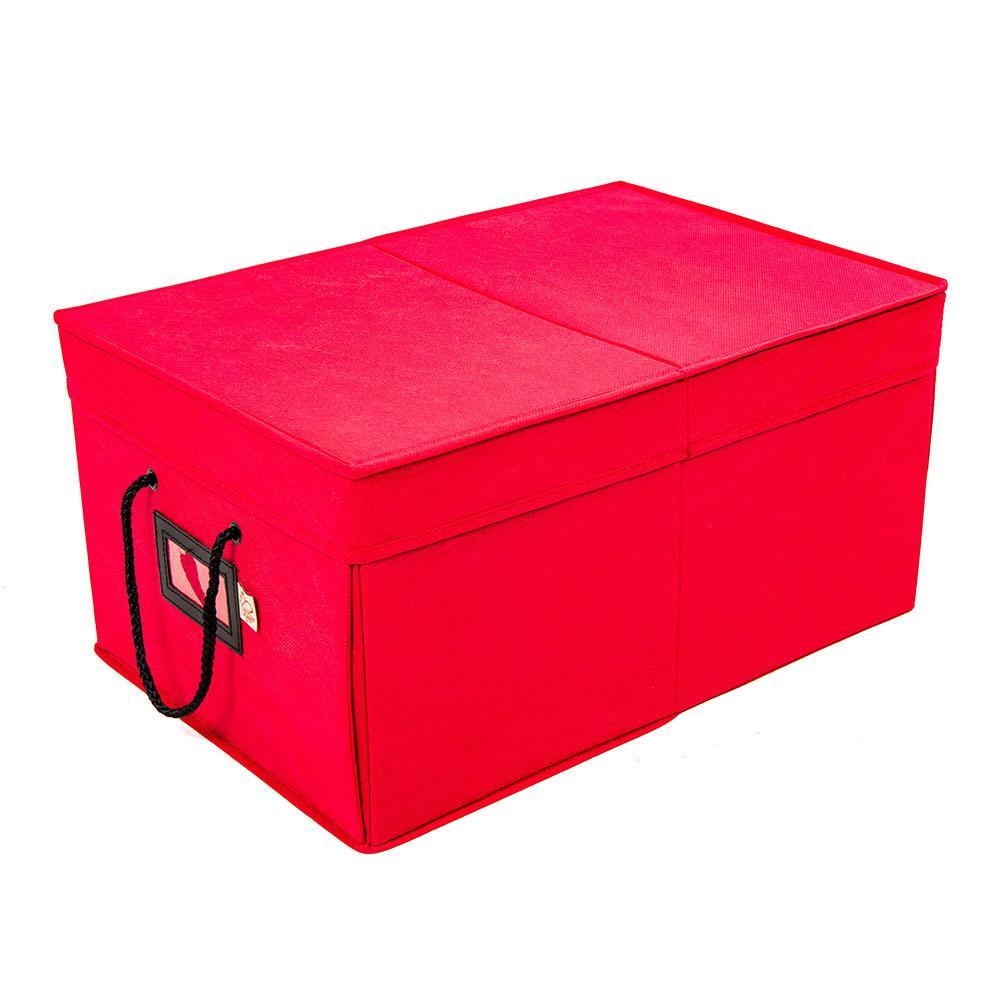 Santa's Bags 3-Drawer Ornament Storage Box - Red