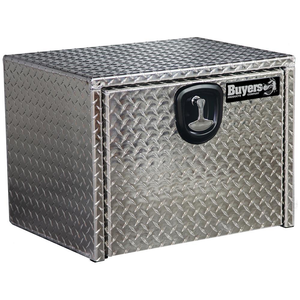 14 in. x 12 in. x 24 in. Diamond Tread Aluminum Underbody Truck Box with T-Handle Latch