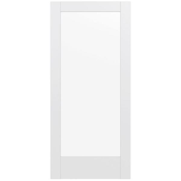 36 in. x 80 in. MODA Primed PMC1011 Solid Core Wood Interior Door Slab w/Clear Glass